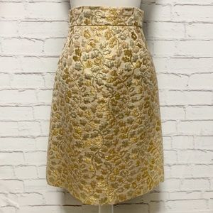 Dolce And Gabbana Gold Brocade Skirt